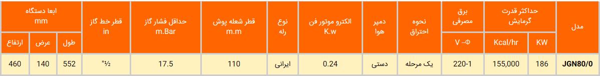 مشعل گازی ایران رادیاتور مدل JGN80/0